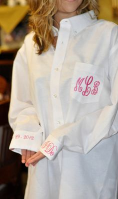 Cute for getting ready the day of Monogram Bride Shirt Button Down for Wedding by bagitupboutique, $40.00
