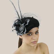 CHIC Ladies Formal Spring Racing/Wedding Black Felt Hat Fascinator w Faux Flower