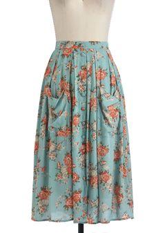 Sweet Tea Time Skirt - Long, Blue, Multi, Floral, Pockets, Boho, A-line, Casual, 90s, Spring, Fall