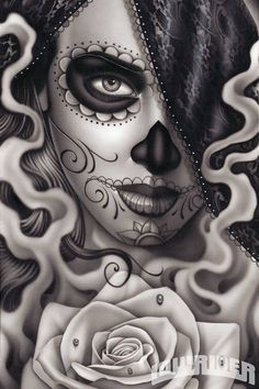 Colorful Attractive Dia De Los Muertos Girl Face Tattoo On Thigh