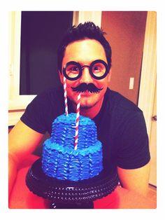 #DIY #mustache #Birthday #cake #photo booth by Carolina Ro