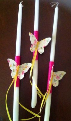 Small candles for christening decorated with fuschia waxthread, floral fabricbutterflies and yellow ribbon - Κεράκια κολυμπήθρας στολισμένα με φούξια κηροκλωστή, υφασμάτινε πεταλούδες και κίτρινη κορδέλα #candle #christeningcandle #handmadedecor #almanogr #κεράκια Easter Crafts, Palm, Sunday, Candles, Christmas Ornaments, Holiday Decor, Blog, Candy, Christmas Ornament