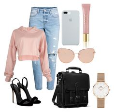 """""""Untitled #194"""" by estersc on Polyvore featuring H&M, Giuseppe Zanotti, Topshop, ETUÍ, AERIN and Daniel Wellington"""