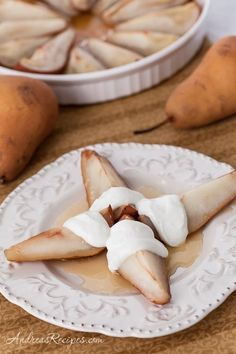 Oh, yum, yum! Thank you, Andrea Meyers - Cider Honey-Roasted Pears with Vanilla Greek Yogurt
