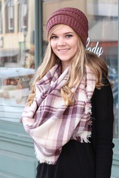 Plaid print blanket scarf. Plum, ivory, and blush in color. Large, soft, and cozy.