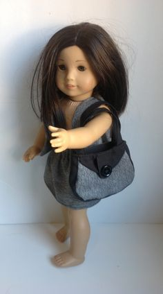 Upcycled skirt, vest, and bag for American Girl doll