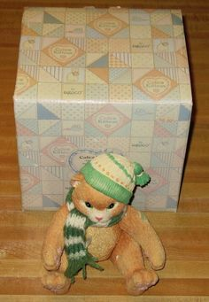 CALICO KITTENS MIB LARGE JOINTED KITTEN WITH KNIT SCARF & HAT CHRISTMAS MUSICAL
