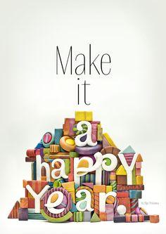New Year Postcard by Olga Protasova. Make it a Happy Year