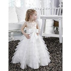 A-line Jewel Floor-length Tulle Satin Flower Girl Dress - GBP £ Dress Flower, Cute Flower Girl Dresses, Tulle Flower Girl, Flower Girls, Tulle Dress, Tulle Skirts, Girls Dresses Online, Girls Pageant Dresses, Prom Dresses