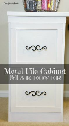 Our Gilded Abode - File Cabinet Makeover Diy Interior, Furniture Makeover, Diy Furniture, Office Furniture, Furniture Projects, Metal Desk Makeover, Refurbishing Furniture, Furniture Update, Furniture Repair