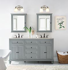 Embellish your living space by selecting this amazing Home Decorators Collection Hamilton Double Bath Vanity in Ivory with Granite Vanity Top in Grey. All White Bathroom, Small Bathroom, Bathroom Ideas, Bathroom Designs, Bathroom Showers, Bath Ideas, Bathroom Storage, Master Bathroom, Shower Ideas