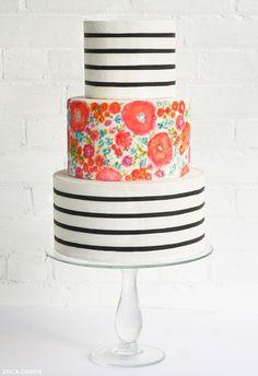 Stripes & Florals | Translating Trends into Cake Designs | TheCakeBlog.com