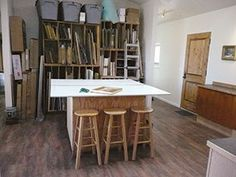Please Step Inside My Studio -Howard Friedland and Susan Blackwood's  work room provides storage for canvases and space to accomplish tasks side by side.