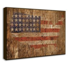 Lend a touch of country-chic appeal to your living room or den with this handsome framed print, showcasing a rustic American map and flag motif.