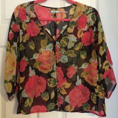 Urban Outfitters Floral Blouse Great condition - worn a few times! Always gets so many compliments.                                                                            NO TRADES! (Please don't ask! Thanks!) Urban Outfitters Tops Blouses