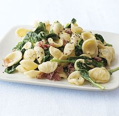 Creamy Orecchiette with Spinach and Prosciutto recipe: Try this simple and delicious recipe with La Quercia Prosciutto or Speck, available in pre-sliced or sliced to order at your deli counter! The lemon zest adds a nice bright touch. Prosciutto Recipes, Homemade Pickles, Stuffed Pasta Shells, Pasta Recipes, Quick Recipes, Special Recipes, Veggie Recipes, Cooking Recipes, Pasta Dishes
