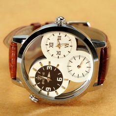 ZLYC Men's Watch Men Three Small Dial Vintage Leather Mechanical Watch Brown