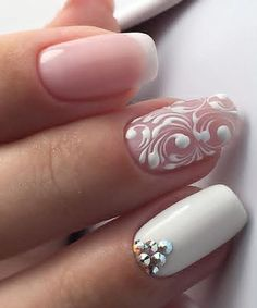 Breathtaking White Nude Nail Art Designs for Wedding