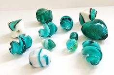 Shades of Teal Multicolored, Multisized Lampwork Glass Beads.  12 Beautiful Beads!!   Pretty and Unique!!  Great Beads At Great Prices!! by…