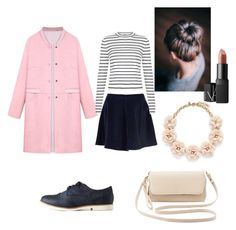 """Pretty pastel trench coat"" by amela-meredith ❤ liked on Polyvore featuring WithChic, Glamorous, New Look, Charlotte Russe, J.Crew and NARS Cosmetics"