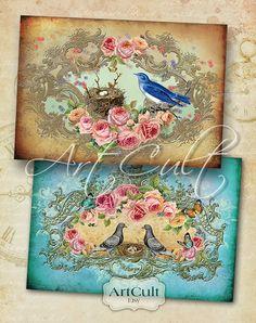 LOVE NEST - Printable Digital Collage Sheet Greeting Cards Victorian Vintage Roses Scrapbook Ephemera paper craft