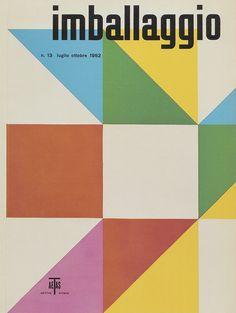 Max Huber - Portada de la revista Imballagio. . Evoca a una caja de embalaje mediante formas geométricas que recuerda a las obras de pintura concreta (Max Bill). Aunque no se sale de la estética del E.I. . Recurre a la minúscula intencionadamente, como homenaje a la Bauhaus constructivista, que en 1926 decidieron optar solo por el uso de la caja baja (minúscula) en sus diseños,