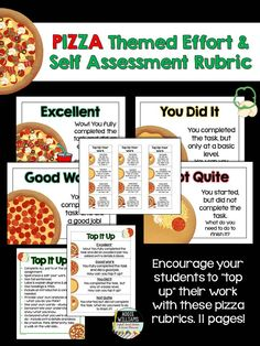 Pizza Themed Effort and Self Assessment Rubric - my students love using these as a reference point!  It's an easy to understand analogy. ($)