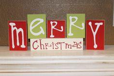 Merry Christmas Blocks- Stackable Christmas wood blocks, mantel decor, table top,. $15.00, via Etsy.