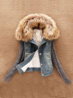 Doresuwe.com SUPPLIES 2015秋冬レディース ファッション大きい毛襟 毛糸の袖 デニムのショートコート ファッショントレンド