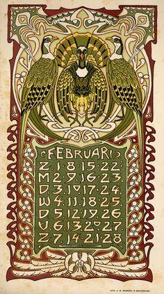 February Art Nouveau / Jugendstil Calendar L. Art And Illustration, Graphic Design Illustration, Illustrations, Retro Poster, Vintage Posters, Belle Epoque, Gustav Klimt, 7 Arts, Art Nouveau Poster