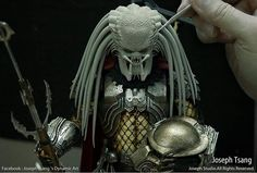 Work in progress shot of artist Joseph Tsang sculpting the new Hot Toys Elder Predator in Super Sculpey Firm. -- #hottoys #behindthescenes #sculpt #spfx #sfx #badass #sculpture #creature #monster #predator #avp #dreds #supersculpey #collectibles #workshop #specialeffects #practicaleffects #workinprogress