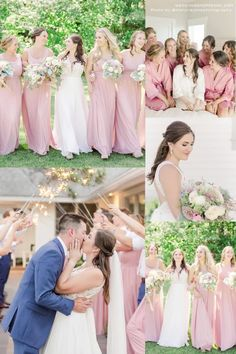 Pink everything! We're obsessed with this pink themed wedding and we can't deny that this is every pastel pink lover's dream wedding. Wedding Shoppe is here to help you make your dream wedding come true. Visit Wedding Shoppe Inc. to find the perfect dresses for the bride and bridesmaids for any theme or season of wedding! | pink bridesmaid dresses | blue groomsmen suits | soft romantic wedding palette | spring wedding ideas | pink satin and lace robes | wedding inspo for girly bride Blush Pink Bridesmaid Dresses, Blush Pink Wedding Dress, Blush Pink Weddings, Brides And Bridesmaids, Wedding Dresses, Blue Groomsmen Suits, Pastel Wedding Theme, Wedding Shoppe, Lovely Dresses