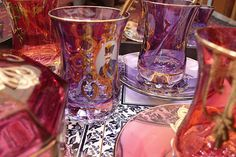 Brightly coloured and exotic glassware.