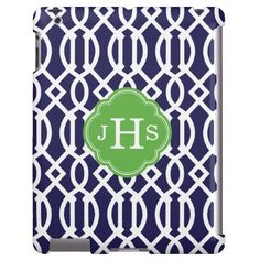 Navy Blue & Green Modern Trellis Custom Monogram