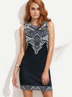 #AdoreWe #SheIn SheIn❤️Designer Womens Navy Print Sleeveless Sheath Dress - AdoreWe.com