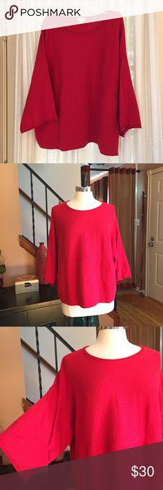 💜 J. Jill red Pure Jill kimono sleeve sweater Size small. Front pockets. Cotton, cashmere. VGC J. Jill Sweaters Crew & Scoop Necks