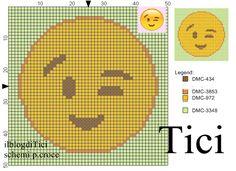 Schema punto croce Emoticon occhiolino