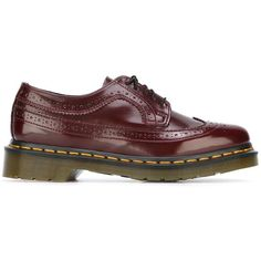 Dr. Martens Ridged Sole Brogues ($191) ❤ liked on Polyvore featuring shoes, oxfords, red, real leather shoes, leather footwear, dr martens shoes, leather shoes and genuine leather shoes