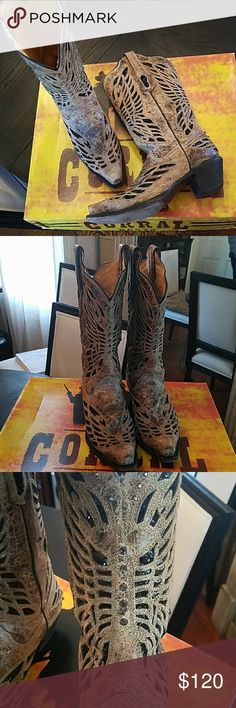 Boots Corral boots, size 7 medium. Bronze with black sequins and crystal butterfly design. 1 rhinestone is missing from the back of the right boot and 1 silver stud is missing  on right boot. Otherwise in great condition. corral Shoes Heeled Boots