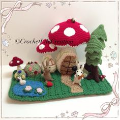 Fantacy doll house set made with wool #amigurumi #crochet