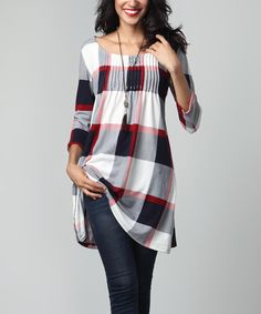 Look at this Red & White Plaid Pin-Tuck Empire-Waist Tunic Dress Plus Size Women's Tops, Mode Hijab, Blouses For Women, Women Tunic, Long Sleeve Tunic, Ruffle Sleeve, Long Blouse, Mode Style, Latest Fashion For Women