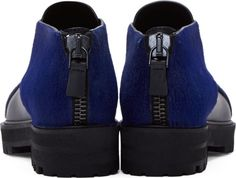 Proenza Schouler Black Criss-Cross Calf-Hair Shoes