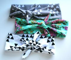 Turban Baby Headband Set in Triangles and Floral by wildjuniper on Etsy https://www.etsy.com/listing/221051108/turban-baby-headband-set-in-triangles