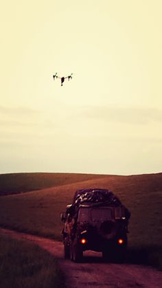 Beautiful shot of the truck being tracked by the #drone! #armytruck #filming #scifi #film #darkwave #artistic