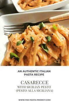 Casarecce Pasta with Sicilian Pesto (pesto alla Siciliana) – The Pasta Project Pasta Company, Summer Pasta Recipes, How To Peel Tomatoes, Roasted Cherry Tomatoes, Drying Pasta, Easy Meals For Kids, Italian Pasta, Homemade Pasta