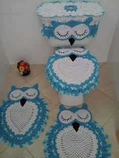 Owl Crochet Rug Pattern The Cutest Ideas Owl Crochet Patterns, Crochet Owls, Owl Patterns, Crochet Home, Crochet Gifts, Cute Crochet, Crochet Doilies, Crochet Baby, Knitting Patterns