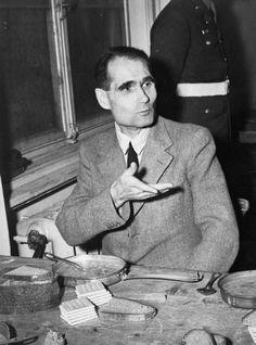 Rudolf Hess, Hitler's deputy until his flight to Britain in 1940, eating a meal in Nuremberg prison.