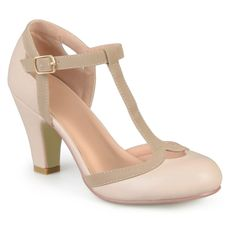 Women's Journee Collection Olina T-Strap Round Toe Mary Jane Pumps - Nude 6.5