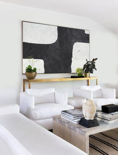 CZ Art Design - Hand painted oversized Horizontal Minimal Art on canvas, black and white minimalist painting. Perfect for contemporary homes and neutral interiors. #MN2C