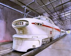 Aerotrain was a streamlined trainset introduced by General Motors Electro-Motive Division in the Envelopes are opaque white with square flap. Watercolor Landscape, Watercolor Painting, Watercolor Illustration, Globe Art, Railroad History, Train Art, Old Trains, Train Pictures, General Motors